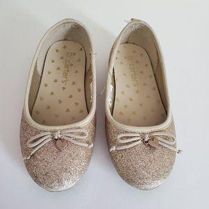 Carter's Gold Glitter Flat Girls Shoes Size 13